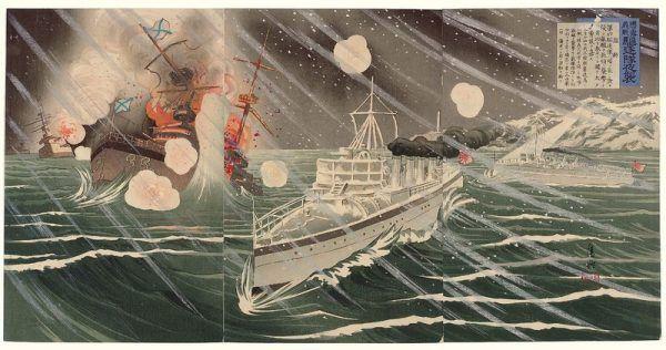 Przedstawiony na ilustracji nocny atak Japończyków na rosyjski Port Artur raczej nie udałby się bez informacji przekazanych przez Sidney'a (autor: Shinohara Kiyooki, domena publiczna).