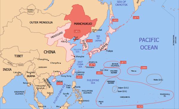 Japońskie podboje terytorialne w Azji Wschodniej. Ciemnym kolorem zaznaczone Cesarstwo Mandżukuo (rys. Emok, CC BY-SA 3.0).