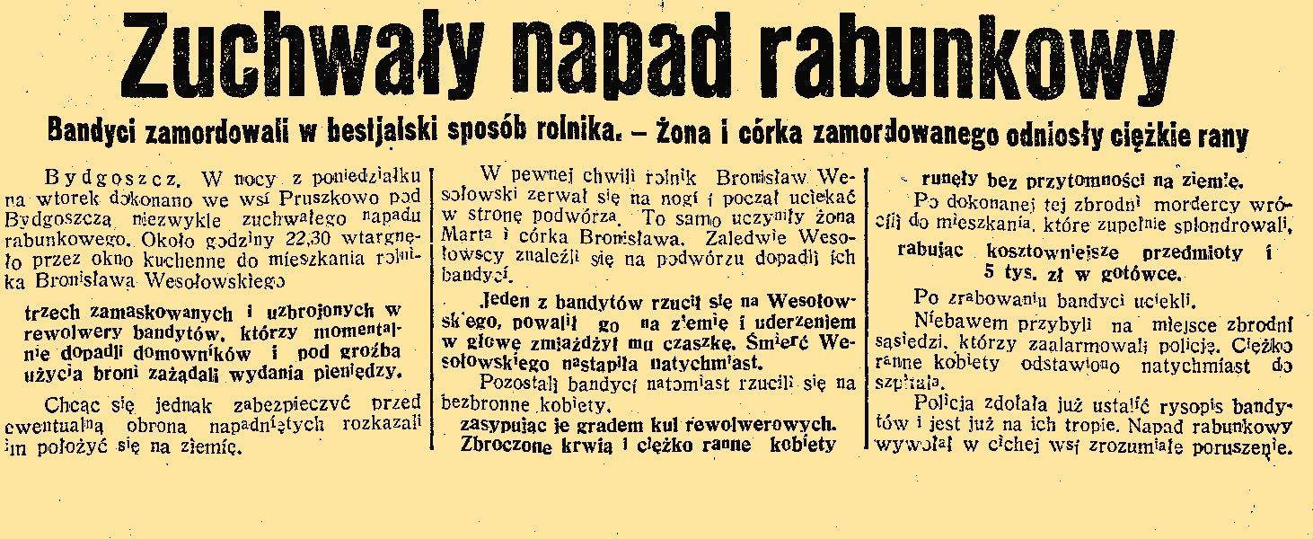 Gazety dokładnie opisywały przebieg napadu na dom Wesołowskich.