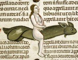 Naga kobieta na... wielkim latającym penisie?!