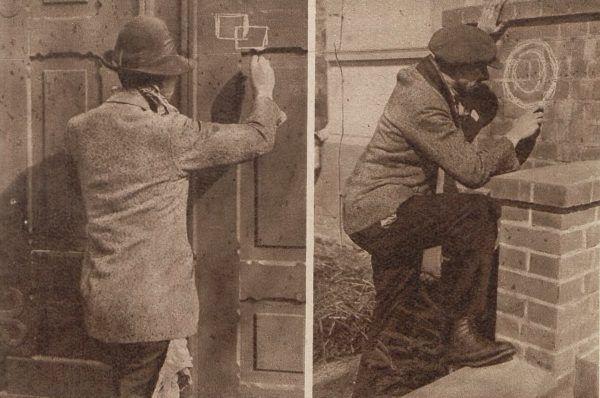 """Włamywacz przy robocie oznaczają miejsce następnego skoku na zdjęciu """"Tajnego Detektywa""""."""