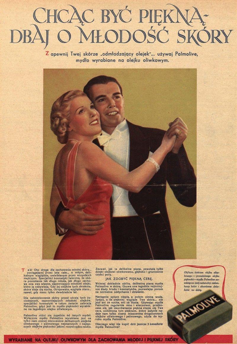 Niestety w okresie międzywojennym wiele kobiet nie podzielało zdania, że korzystanie z mydła to dobry pomysł. Na ilustracji reklama prasowa mydła Palmolive (źródło: domena publiczna).