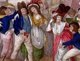 """Nowożytne prostytutki na obrazie """"Mężczyźni wojny w drodze do rozkosznego portu""""."""