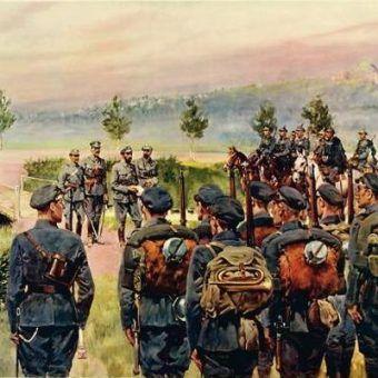 Wymarsz Pierwszej Kompanii Kadrowej z Oleandrów w Krakowie 6 sierpnia 1914 (Jerzy Kossak).