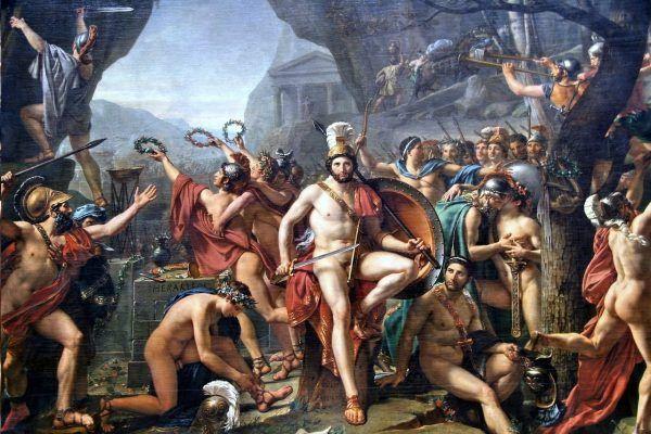 """Gdyby mężny Leonidas usłyszał o seksualnym strajku Spartanek, padłby na niego blady strach. Na ilustracji obraz Jacquesa-Louisa Davida """"Leonidas pod Termopilami""""."""
