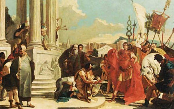 """I choć byli zaciekłymi wrogami, Cezar nie ucieszył się z otrzymanej w prezencie głowy Pompejusza. (Obraz zatytułowany """"Juliusz Cezar kontemplujący odciętą głowę Pompejusza"""")."""