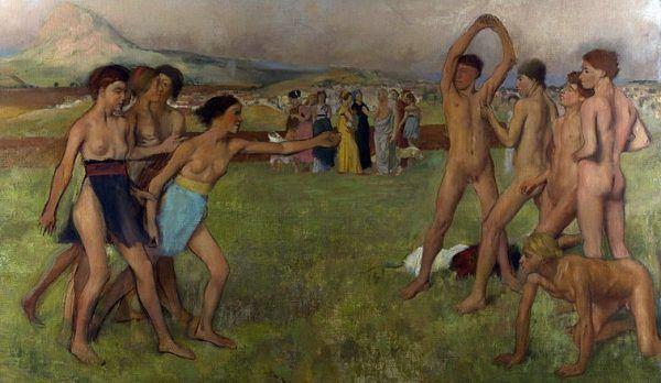 """Na poczatku ćwiczenia fizyczne, a potem... alkowiane.(Edgar Degas, """"Ćwiczenia młodych Spartan"""")"""