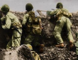 Rangersi w trakcie walk o Pointe du Hoc (koloryzacja RK).