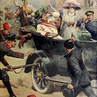 Zamach w Sarajewie na rysunku Achille Beltrame.