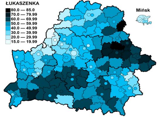 Wyniki Aleksandra Łukaszenki w I turze wyborów prezydenckich na Białoruski w 1994 r. (autor: Bladyniec; lic. CC ASA 3.0).
