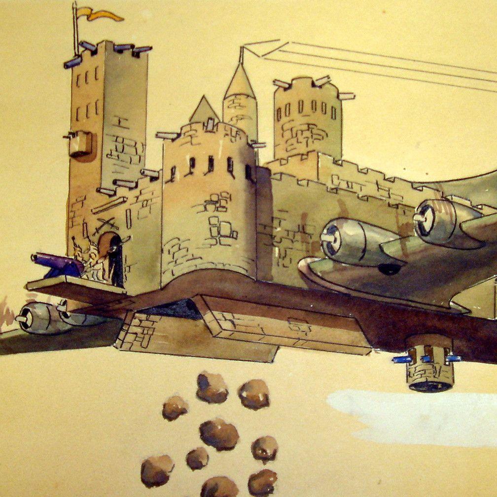 Latająca forteca na rysunku podpułkownika Charles Ross Greening (domena publiczna).