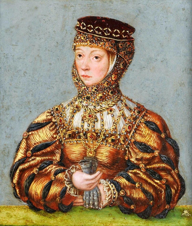 Barbara Radziwiłłówna na portrecie wykonanym w warsztacie Łukasza Cranacha młodszego niedługo po jej śmierci.