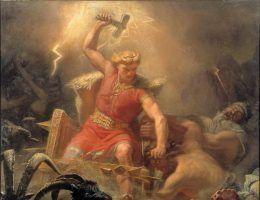 """""""Thor walczy z gigantami"""" obraz Mårtena Eskila Wingego. W ręku nordyckiego boga oczywiście nieodłączny Mjölnir."""