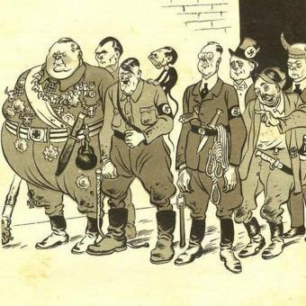 Przedwojenna karykatura nazistowskich dygnitarzy.