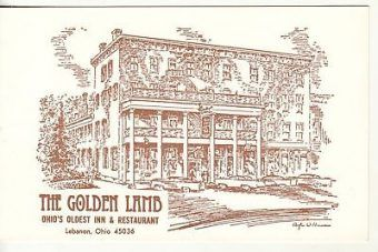 "Stara pocztówka reklamująca ""Golden Lamb Inn""."