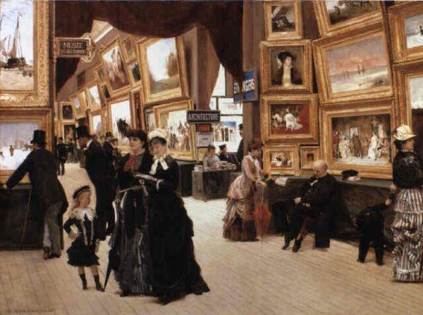 W w 1876, 1879, 1885 i 1904 roku Victorine, wywalczywszy wreszcie uznanie jako malarka, wystawiała swoje prace w Salonie. Na obrazie Salon z roku 1880.