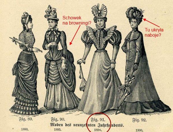 Kobiecy strój przełomu XIX i XX wieku okazał się doskonałym schowkiem do przenoszenia broni, amunicji i materiałów wybuchowych.