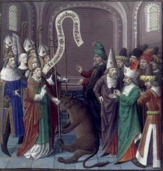 Święty Sylwester (pierwszy) robiący coś bardzo papieskiego...