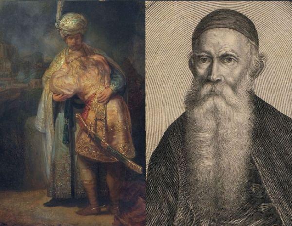 """""""Pożegnanie Dawida z Jonatanem"""" (z lewej) i Jonasz Szlichtyng we własnej osobie (z prawej)."""