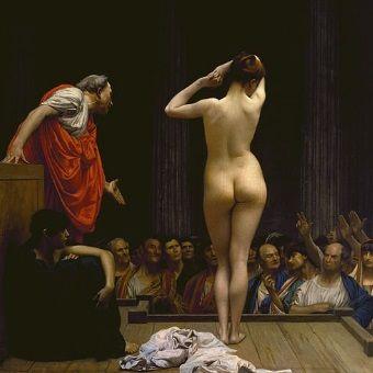 """""""Rzymski targ niewolników"""" (autor Jean-Léon Gérôme). Czyżby starożytny odpowiednik targów pracy?"""