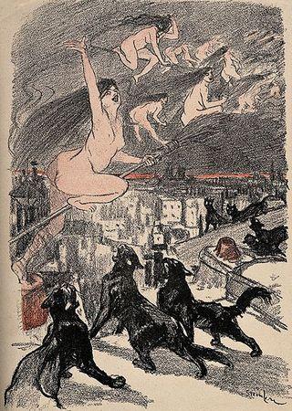 Czarne koty przez wieki nie miały łatwo. Jednoznacznie łączono je z czarownicami, co wiele czworonogów przypłaciło życiem. Na ilustracji XIX-wieczna litografia T.A. Steinlena.