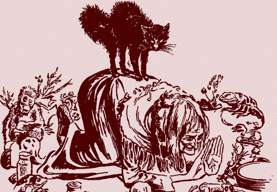 Czarownica i jej czarny kot, czyli według przesądów nierozłączna para.