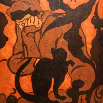 Czarownica i czarny kot. Kiedyś oskarżenie o taką kombinację groziło stosem, zarówno podejrzanej kobiecie, jak również jej pupilowi . Na ilustracji obraz pędzla Paula Ransona (źródło: domena publiczna).