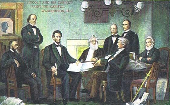 Pierwszym kociarzem w Białym Domu był Abraham Lincoln. Na ilustracji wraz ze swoich gabinetem. Ciekawe ilu z tych nobliwych panów również miało koty?