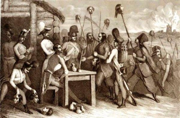 Galicyjscy chłopi przynoszą Austriakom głowy swoich ofiar...