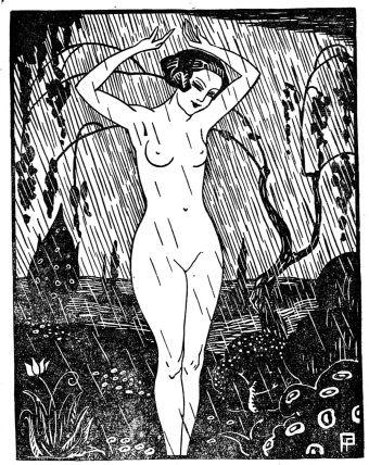 """""""Kobieta w deszczu"""". Ilustracja z """"Nowego Dekameronu"""", rok 1924."""