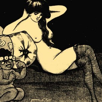 """Ilustracja z przedwojennego pisemka erotycznego """"Amorek""""."""