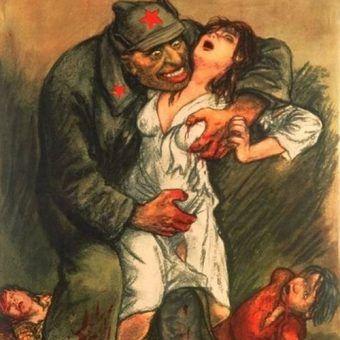 Niemiecka propaganda przedstawiała czerwonoarmistów jako gwałcicieli i morderców. No i w znacznej mierze rzeczywistość potwierdziła propagandowe slogany. Na ilustracji fragment plakatu Willibalda Kraina, który miał zachęcić Polaków do walki z Armią Czerwoną.