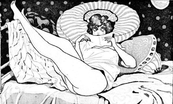 """""""Zaczytana"""". Ilustracja z przedwojennego pisma erotycznego """"Nowy Dekameron""""."""