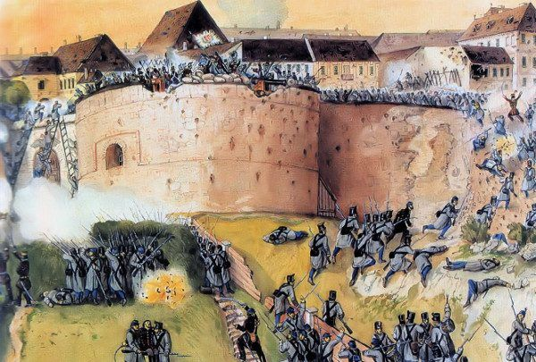 Sobieski nie był też siostrzeńcem bohatera powstania węgierskiego Józefa Bema (na ilustracji zdobycie zamku w Budzie przez Węgrów w 1849 roku)