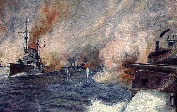 Bitwa pod Coronelem na niemieckiej pocztówce z okresu Wielkiej Wojny (źródło: domena publiczna).