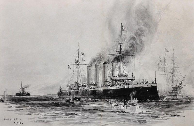 """HMS """"Good Hope"""" okręt flagowy Eskadry Zachodnich Indii kontradmirał Christophera Cradocka . Obraz Williama Lionela Wyllie'go (źródło: domena publiczna)."""
