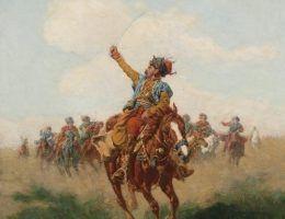 """Żywiołem lisowczyków była wojna. Na ilustracji obraz """"Lisowczyk"""" pędzla Władysława Szernera (źródło: domena publiczna)."""