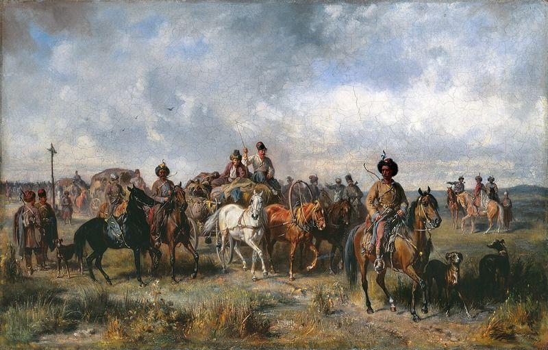 """Swoją wartość lisowczycy pokazali w 1614 roku, kiedy dostarczyli zapasy dla załogi oblężonego Smoleńska. Na ilustracji obraz Józefa Brandta """"Pochód lisowczyków"""" (źródło: domena publiczna)."""