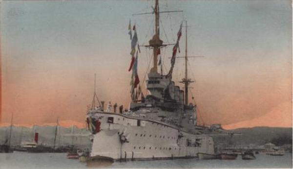 """SMS """"Scharnhorst"""", okręt flagowy Eskadry Wschodnioazjatyckiej (źródło: domena publiczna)."""