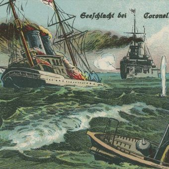 Niemiecka pocztówka z okresu I wojny, upamiętniająca zwycięstwo pod Coronelem.