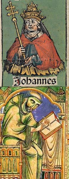 Decyzję o uporządkowaniu wielkanocnej rachuby zawdzięczamy Janowi I (u góry). Całą pracę wziął jednak na siebie Dionizy Mniejszy (u dołu).