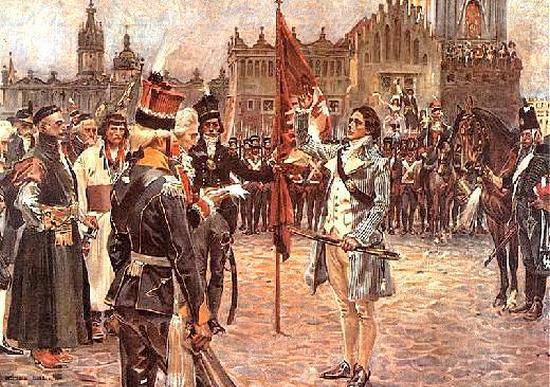 Przysięga Tadeusza Kościuszki na krakowskim Rynku. Gdyby nie zbawienny maszt, którego uczepił się Kościuszko Wojciech Kossak na pewno nie namalowałby tego obrazu.