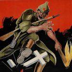Bolszewik na plakacie propagandowym z 1943 r. Czego nie zniszczy to ukradnie (źródło: domena publiczna).