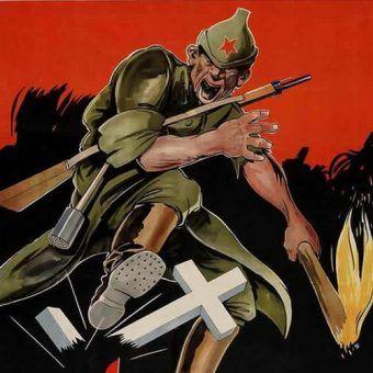 Bolszewik na niemieckim plakacie propagandowym z 1943 r. Czego nie zniszczy to ukradnie (źródło: domena publiczna).