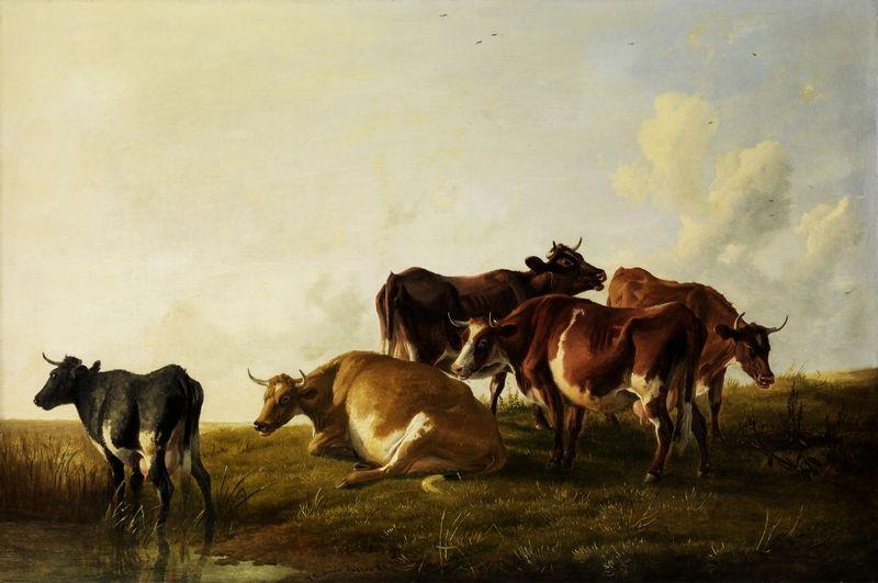 Grabieże nie ominęły również rolnictwa. Tylko do 1 września 1945 roku Sowieci zarekwirowali w Polsce 506 tys. sztuk bydła, ponad 114 tys. owiec i 206 tys. koni. Na ilustracji obraz Thomasa Sidneya Coopera (źródło: domena publiczna).