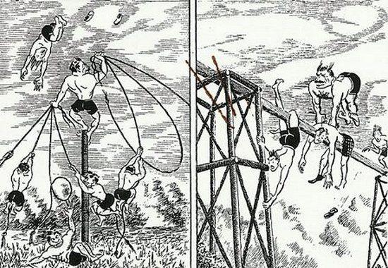 """""""Małpi gaj"""" na karykaturze z okresu II wojny światowej (źródło: domena publiczna)."""