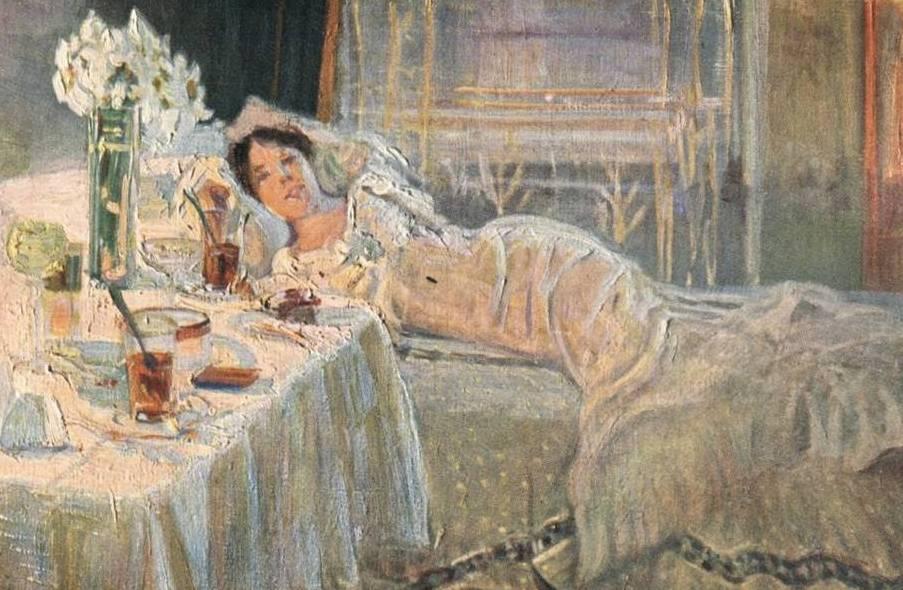 Franciszek Giedroyć i William Martin przytaczali wiele przykładów w jaki sposób kobiety starały się przekonać swoich partnerów, że są dziewicami. Na ilustracji obraz niemieckiego malarza Wohlthorna Sehnsuchta (źródło: domena publiczna).