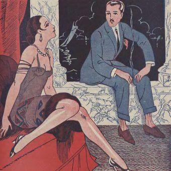 Seks oralny był bardzo kontrowersyjnym tematem w okresie międzywojennym. Na jego temat jego szkodliwości lub też jej braku wypowiadali się najwięksi eksperci od seksu tamtych lat (źródło: domena publiczne).