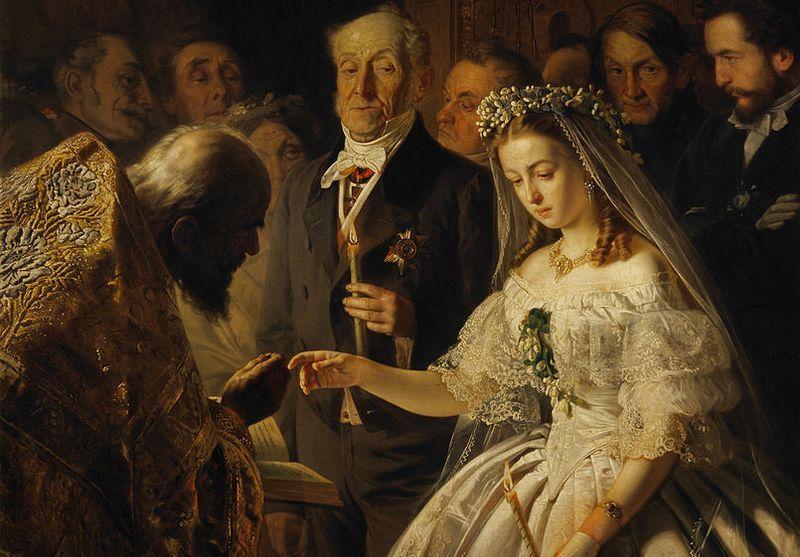 """XIX-wieczny ślub zwykle był po prostu transakcją, w której nie było miejsca na miłość . Na ilustracji obraz Wasilija Pukiriewa """"Nierówne małżeństwo"""" (źródło: domena publiczna)."""
