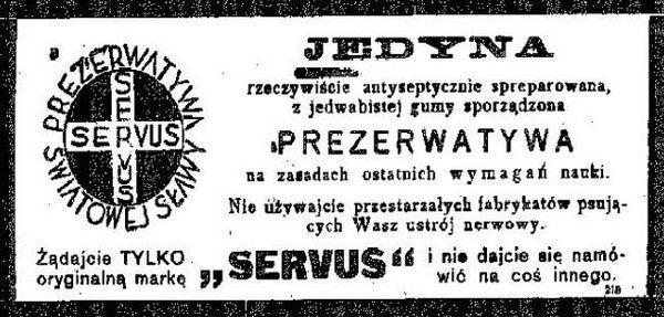 W międzywojennej prasie bez problemu można było znaleźć reklamy prezerwatyw. Tę np. zamieszczono w jednym z kieleckich dzienników na początku lat 30. (źródło: domena publiczna).